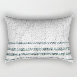 Farmhouse Grain Sack Camp Green Stripes Rectangular Pillow