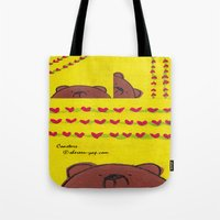 coasters Tote Bags featuring Grumpy Bear - Coasters by Shereen Yap