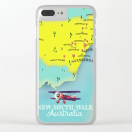 New South Wales, Australia vintage style travel map. Clear iPhone Case