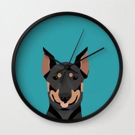 Doberman dog breed doberman pinscher gift dog owner pet portraits custom dog breed gifts  Wall Clock