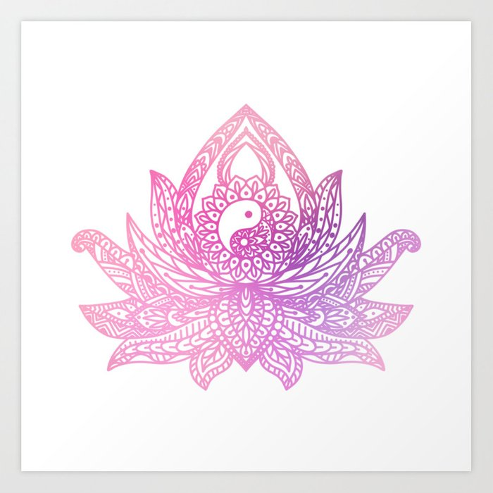 Yin Yang Lotus Watercolor Art Print By Halycyoniandesign Society6