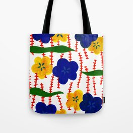 Blue and Yellow Floral Patterns Tote Bag