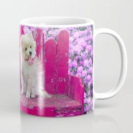 Sweet Little Dog on a Pink Park Bench Coffee Mug