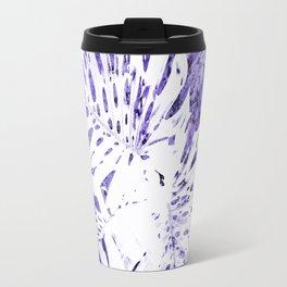 Palm Leaves IV purple & white abstract Travel Mug