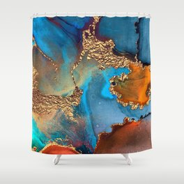Luxurious Abstract Glitter Gold and Blue Paint Texture Shower Curtain