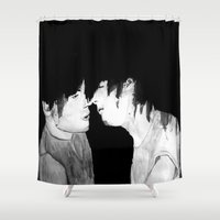 larry Shower Curtains featuring Larry by Vidility