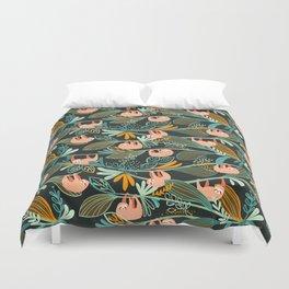 Jungle Sloths Dark Duvet Cover