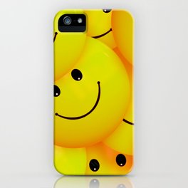 Fun Cool Happy Yellow Smiley Faces iPhone Case