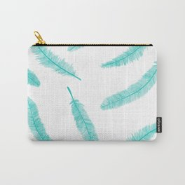 Turquoise Feathers Carry-All Pouch