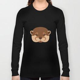 Otter Face Silhouette Long Sleeve T-shirt