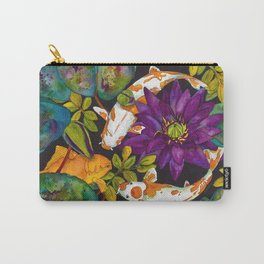 Purple Lily and Koi Carry-All Pouch