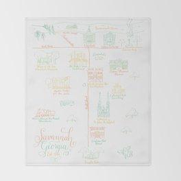 Savannah, Georgia Illustrated Calligraphy Map Throw Blanket