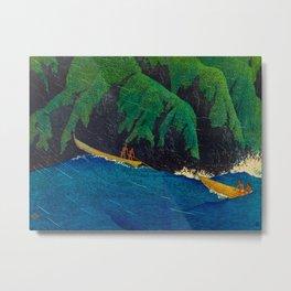 Kawase Hasui Vintage Japanese Woodblock Print Beautiful Green Cliffs Raging Blue Waters With Fisherm Metal Print