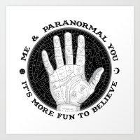Me & Paranormal You - James Roper Design - Palmistry B&W (black lettering) Art Print