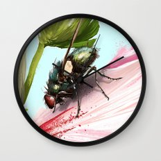 Fly on a flower 15 Wall Clock