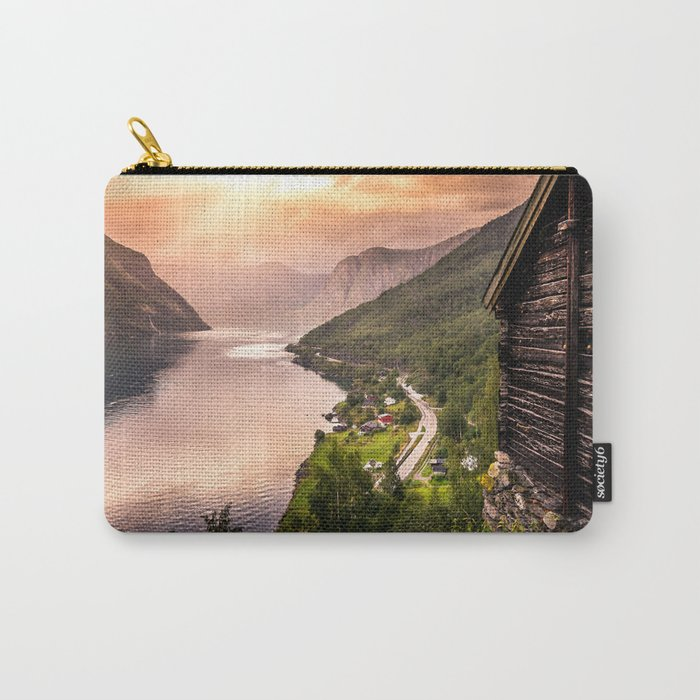 Fjord at sunset Carry-All Pouch