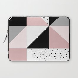 Geometrical pink black gray watercolor polka dots color block Laptop Sleeve