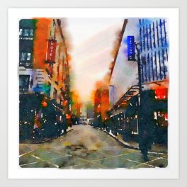 Dublin at Night II (Soaked Collection) Art Print