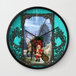 Santa Claus with reindeer Wall Clock