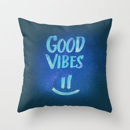 Good Vibes - Funny Smiley Statement / Happy Face (Blue Stars Edit) Throw Pillow