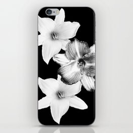 White Lilies on Black #1 #floral #decor #art #society6 iPhone Skin