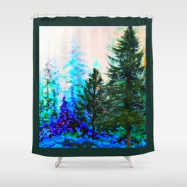SCENIC BLUE MOUNTAIN GREEN PINE FOREST Shower Curtain