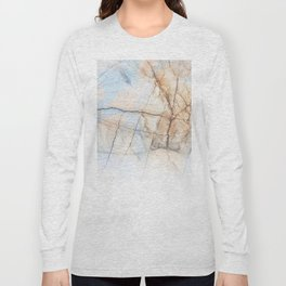 Cotton Latte Marble - Ombre blue and ivory Long Sleeve T-shirt