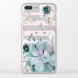 Simply Succulent Garden on Desert Rose Pink Striped Clear iPhone Case