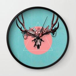 Vintage Deer Skull Wall Clock