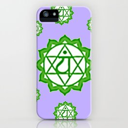 """This design is all about the ASTRAL PURPLE GREEN SANSKRIT CHAKRAS PSYCHIC WHEEL """" LOVE"""" decor, furni iPhone Case"""