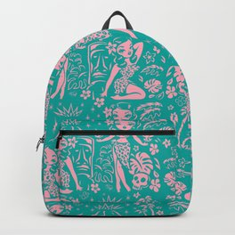 Tiki Temptress in Pink and Turquoise Backpack