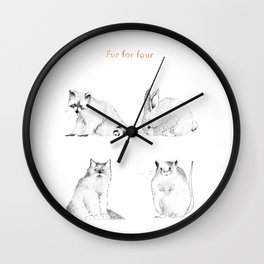 Fur For Four Wall Clock