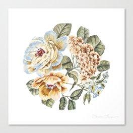 Circular Pastel Florals Canvas Print