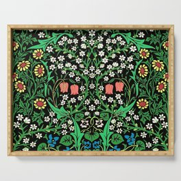 William Morris Jacobean Floral, Black Background Serving Tray