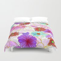 oriental Duvet Covers featuring Oriental blossom by Federico Faggion