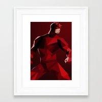 daredevil Framed Art Prints featuring Daredevil by tophatmonster
