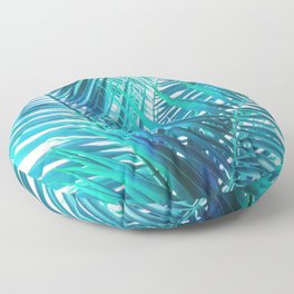 Turquoise Palm Leaves Floor Pillow