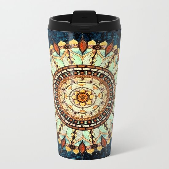 Sketched Mandala Design On A Blue Textured Background Metal Travel Mug