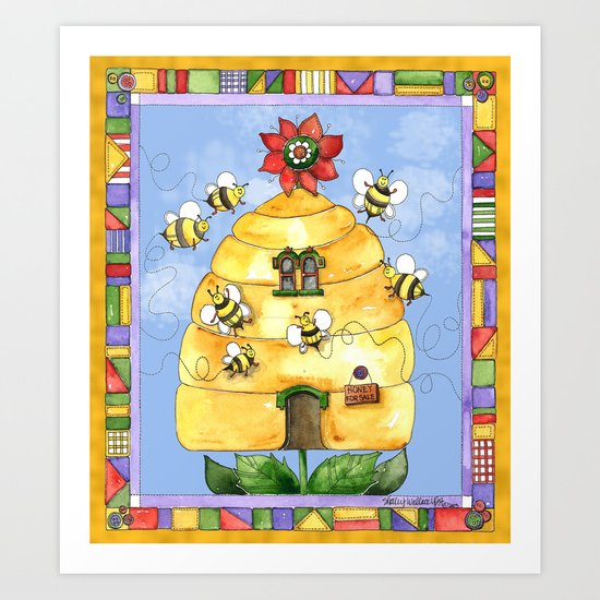 Busy Bees with Border Art Print