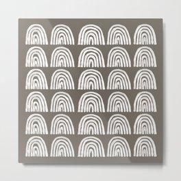 Grey Boho Rainbows Metal Print