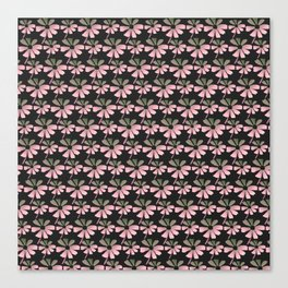 Daisies In The Summer Breeze - Pink Grey Black Canvas Print