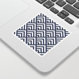 Navy Blue geometric art deco diamond pattern Sticker