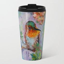 Humming Around - Hummingbird With Iris And Chery Tree Flowers Oil Painting Travel Mug