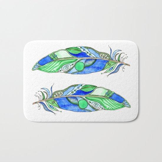 Bohemian Spirit Feathers - Blue & Green Bath Mat