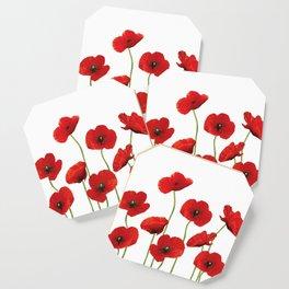 Poppies Field white background Coaster