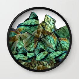 Labradorite Landscape - Gemstone Scene - Iridescent Stones Wall Clock