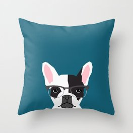 Hadley  - French Bulldog wearing hipster glasses perfect for dog lovers and owners, dog people Throw Pillow
