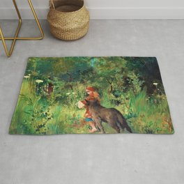 12,000pixel-500dpi - Little Red Riding Hood And The Wolf In The Forest - Carl Larsson Rug