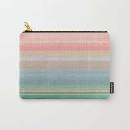 Peaches and Mint Stripe Design Carry-All Pouch