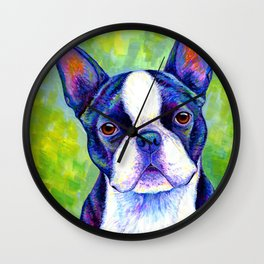 Colorful Boston Terrier Dog Wall Clock